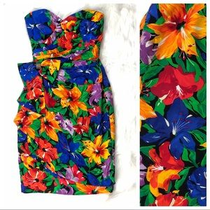 A.J Bari | Vibrant Silk Floral Strapless Dress